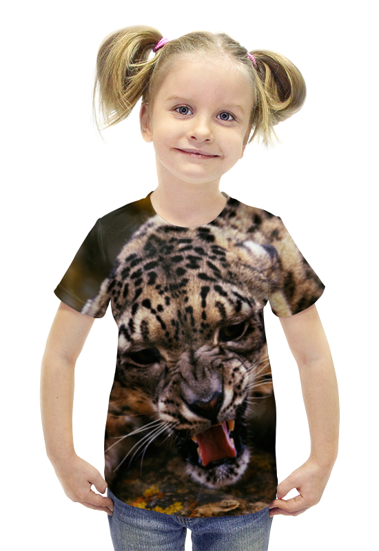 Футболка с полной запечаткой для девочек Printio Леопард футболка с полной запечаткой для девочек printio пртигр arsb