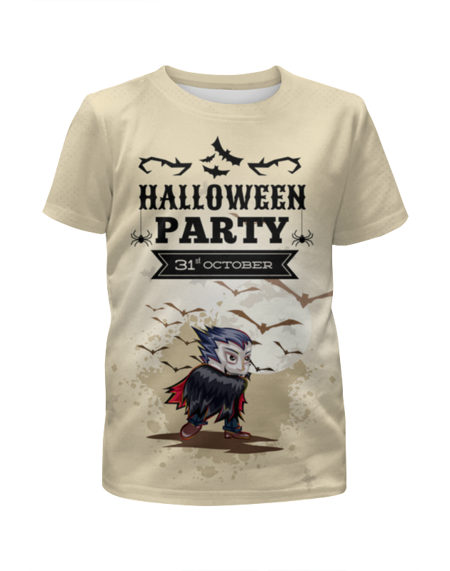 Футболка с полной запечаткой для девочек Printio Halloween party halloween cosplay maid girls dress carnival party skeleton pattern role pirate costume princess dress black with gloves