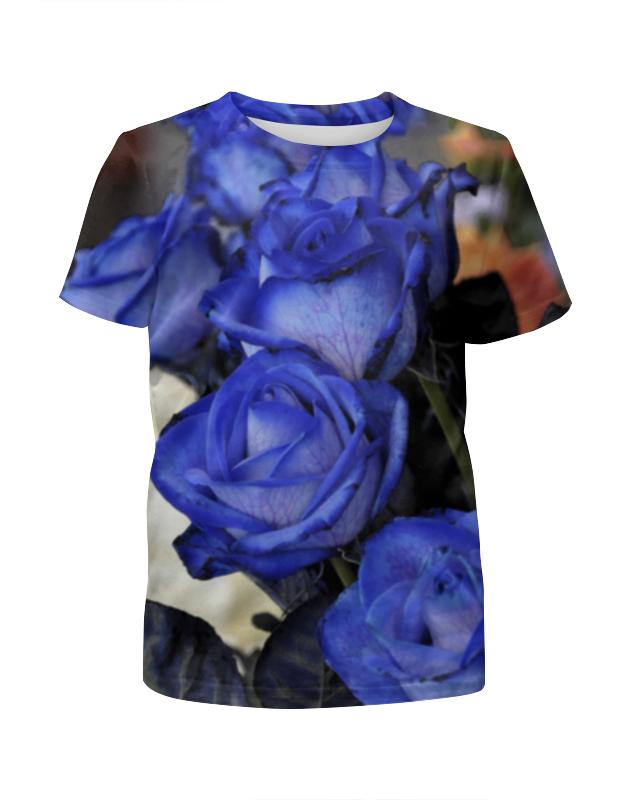 футболка с полной запечаткой для девочек printio розы декор Футболка с полной запечаткой для девочек Printio Синие розы