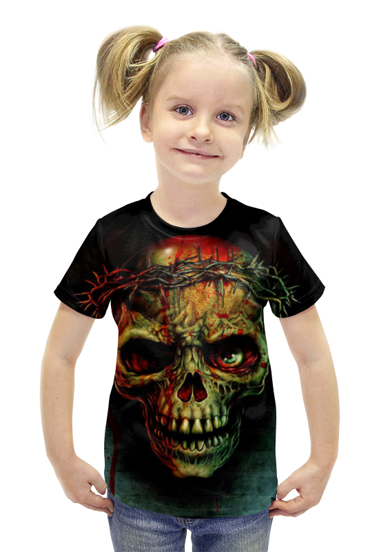 Футболка с полной запечаткой для девочек Printio Skull футболка с полной запечаткой для девочек printio пртигр arsb