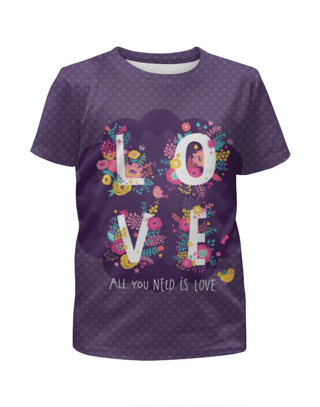 Футболка с полной запечаткой для девочек Printio All you need is love. парные футболки майка print bar all you need is love