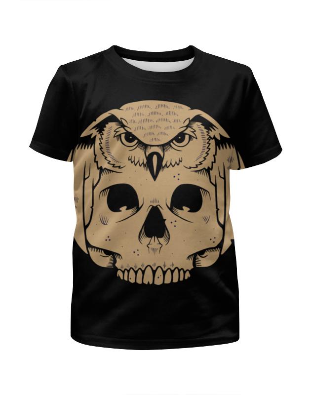 Футболка с полной запечаткой для девочек Printio Owl scull / сова с черепом детская футболка классическая унисекс printio owl scull сова и череп