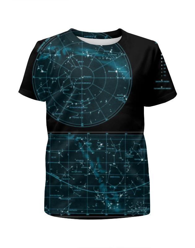 Футболка с полной запечаткой для девочек Printio Карта звёздного неба свитшот унисекс с полной запечаткой printio карта звёздного неба