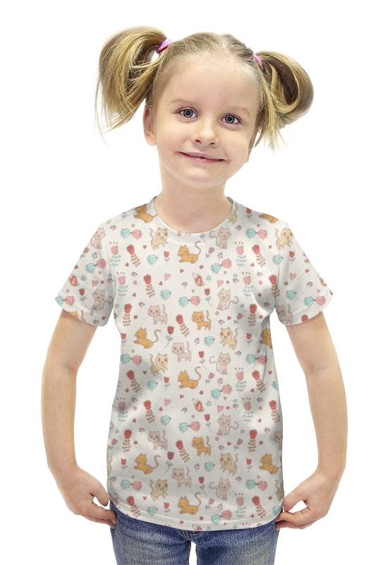 Футболка с полной запечаткой для девочек Printio Котята и птички футболка с полной запечаткой для девочек printio птички