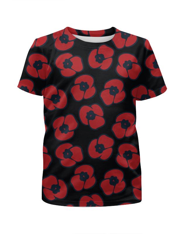 Футболка с полной запечаткой для девочек Printio Красные маки бомбер printio красные маки