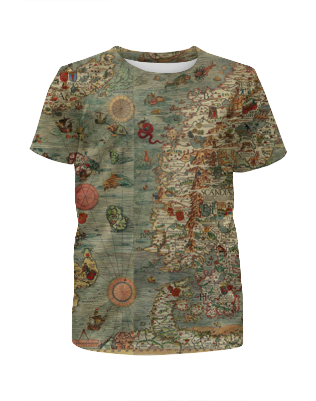 Футболка с полной запечаткой для девочек Printio Old map футболка с полной запечаткой мужская printio old map page 2