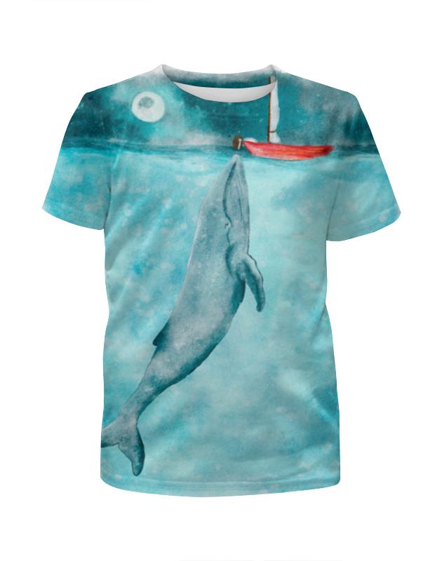 Футболка с полной запечаткой для девочек Printio Кит и лодка футболка для беременных printio кит ричардс