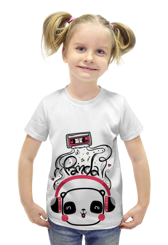 Футболка с полной запечаткой для девочек Printio Панда в наушниках футболка с полной запечаткой для девочек printio панда