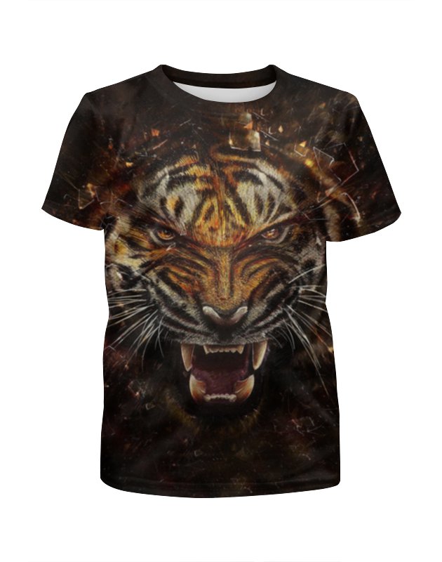 Футболка с полной запечаткой для девочек Printio Ревущий тигр футболка с полной запечаткой мужская printio тигр 3d