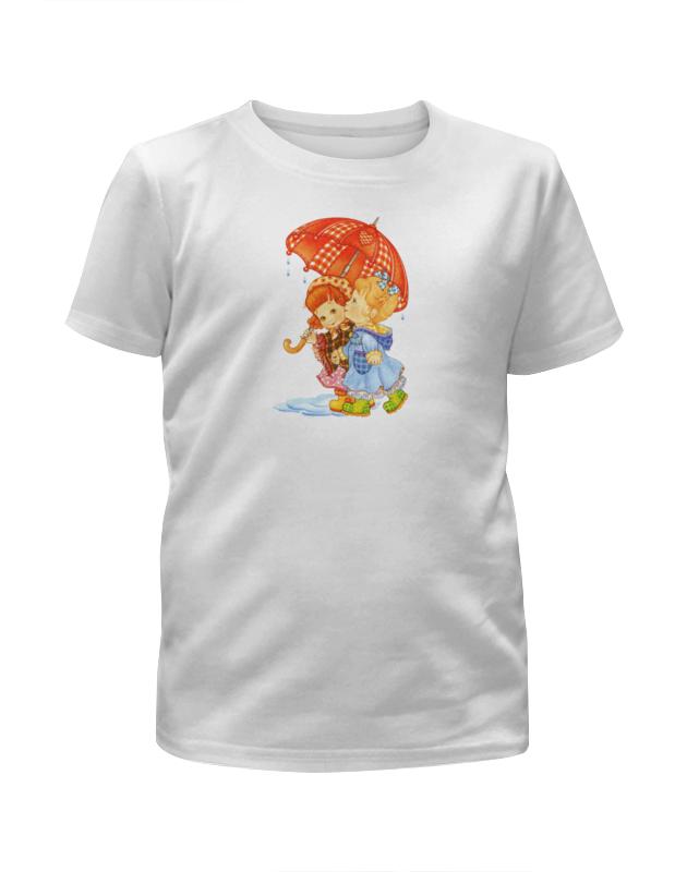 Футболка с полной запечаткой для девочек Printio Девочки под зонтом дождикэ футболка с полной запечаткой для девочек printio искорка девочки эквестрии