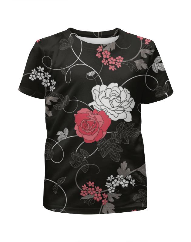 футболка с полной запечаткой для девочек printio розы декор Футболка с полной запечаткой для девочек Printio Красная и белая розы