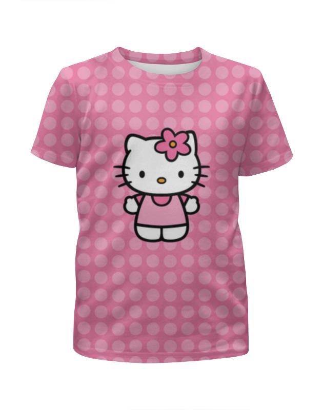 Футболка с полной запечаткой для девочек Printio Kitty в горошек футболка с полной запечаткой для мальчиков printio кошечка