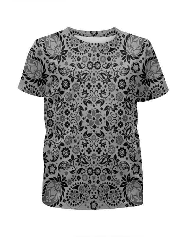 Футболка с полной запечаткой для девочек Printio Цветочный узор футболка с полной запечаткой для девочек printio волнистый узор