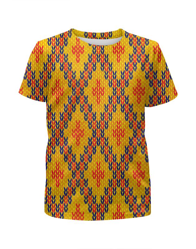 Футболка с полной запечаткой для девочек Printio Узор вязаный футболка с полной запечаткой мужская printio вязаный узор зима