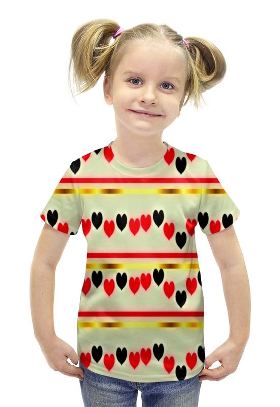Футболка с полной запечаткой для девочек Printio Сердечки футболка с полной запечаткой для девочек printio пртигр arsb