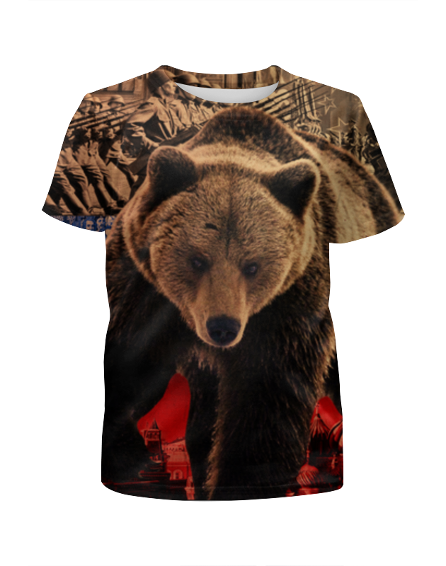 Футболка с полной запечаткой для девочек Printio Медведь россия россия ск медведь 116 гр
