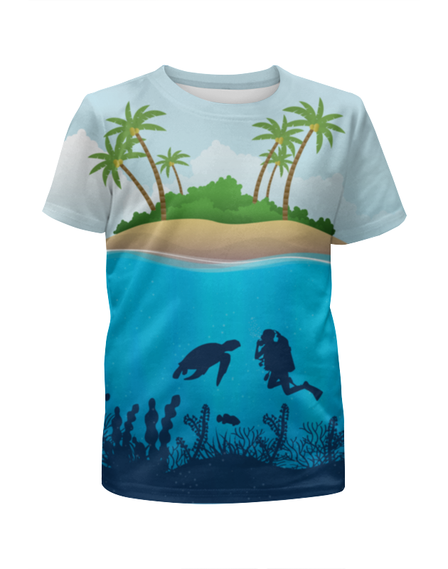 Футболка с полной запечаткой для девочек Printio Дайвинг футболка с полной запечаткой для девочек printio дайвинг