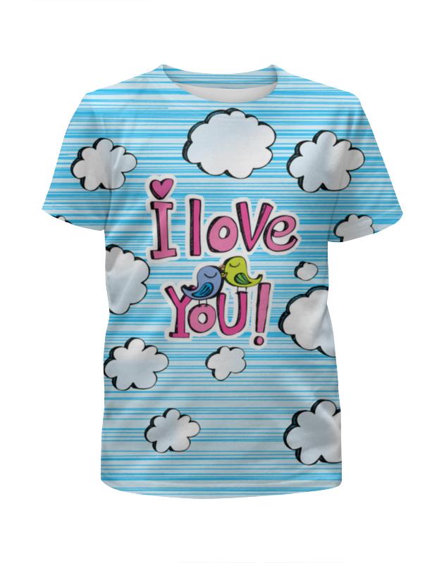 Футболка с полной запечаткой для девочек Printio Птички в облачках футболка с полной запечаткой для девочек printio птички