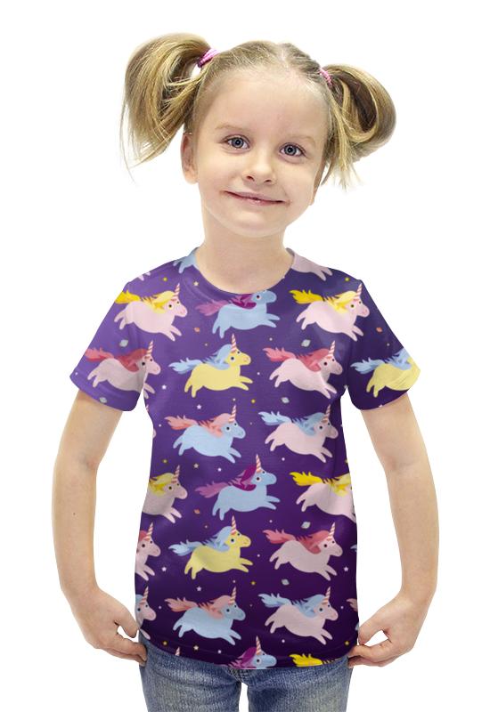 Футболка с полной запечаткой для девочек Printio Единороги футболка с полной запечаткой для девочек printio пртигр arsb