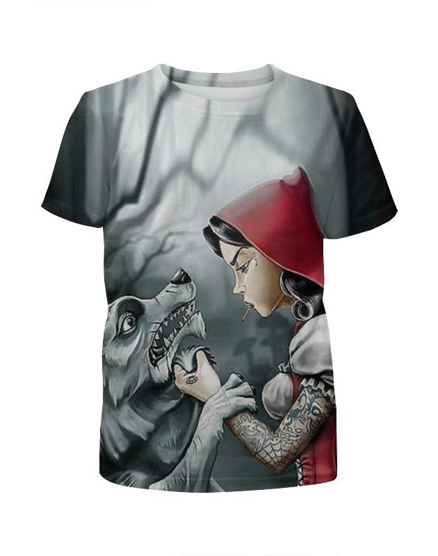 Футболка с полной запечаткой для девочек Printio Красная шапочка и серый волк футболка 501 красная