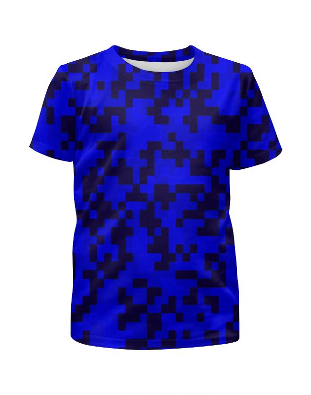 цена на Футболка с полной запечаткой для девочек Printio Синий камуфляж