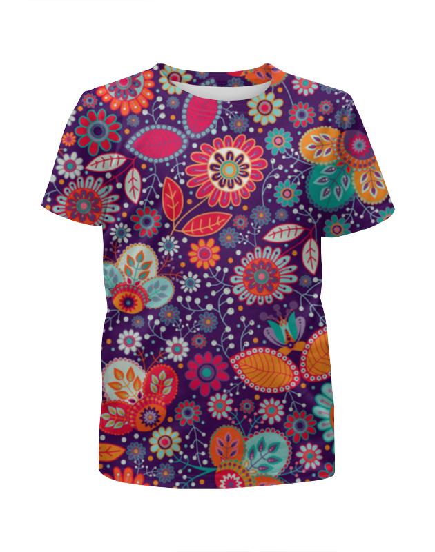 Футболка с полной запечаткой для девочек Printio Цветочная поляна футболка с полной запечаткой для девочек printio пртигр arsb