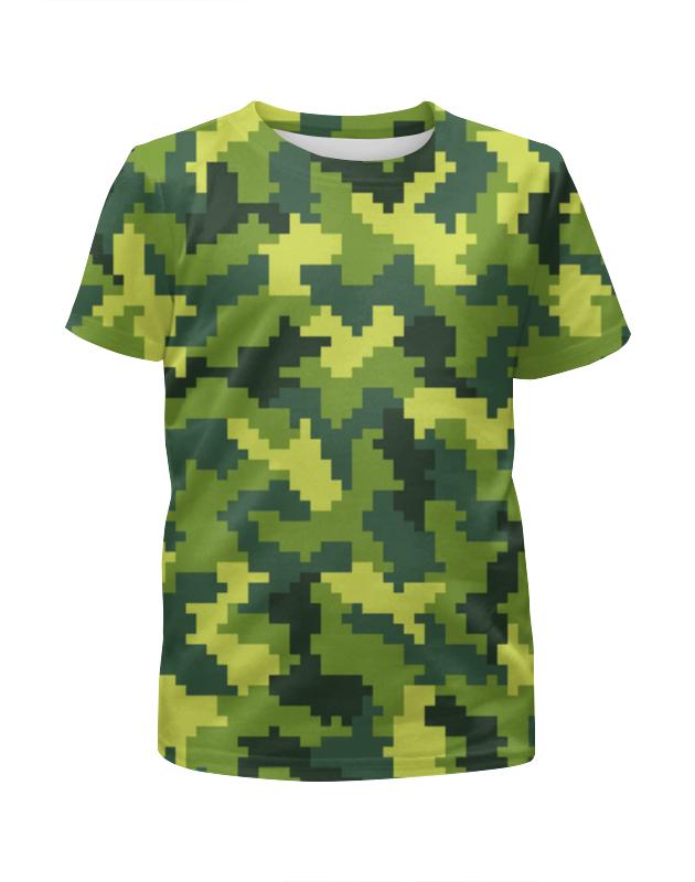 Футболка с полной запечаткой для девочек Printio Green camouflage