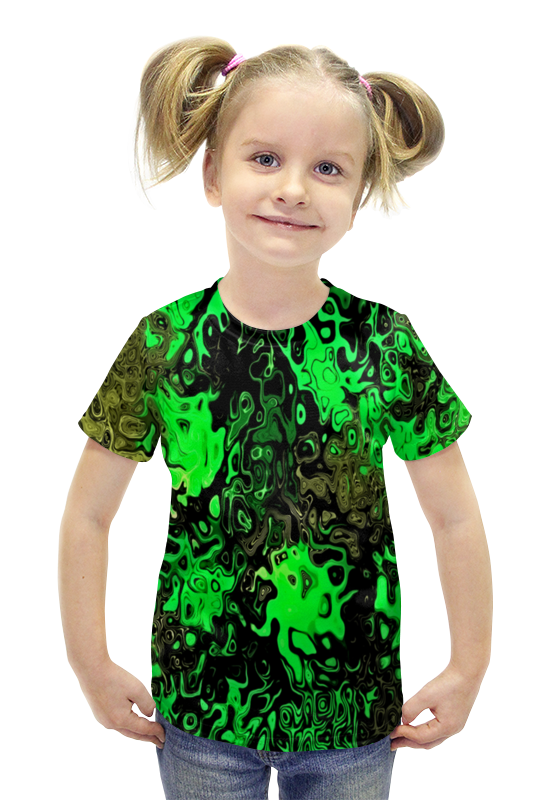 Футболка с полной запечаткой для девочек Printio Серо-зеленый футболка с полной запечаткой для девочек printio spawn