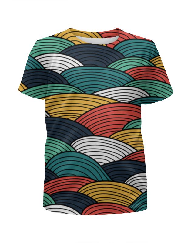 Футболка с полной запечаткой для девочек Printio Цветные волны футболка с полной запечаткой для девочек printio цветные кошки