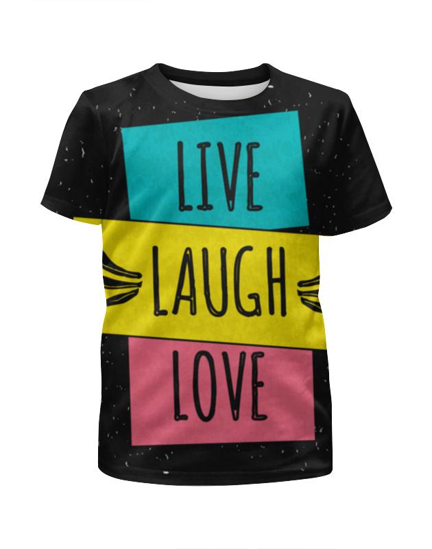 Футболка с полной запечаткой для девочек Printio Live. laugh. love. чехол для iphone 5 глянцевый с полной запечаткой printio love