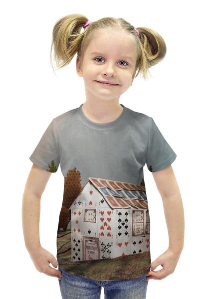 """Футболка с полной запечаткой для девочек """"Карточный домик"""" - фантазия, казино, карты игральные"""