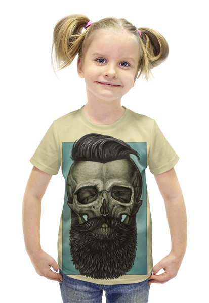 """Футболка с полной запечаткой для девочек """"Skull Art"""" - skull, череп, борода, artwork, арт дизайн"""