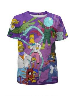 """Футболка с полной запечаткой для девочек """"Симпсоны / The Simpsons"""" - гомер, рисунок, кино, сериал, симпсоны"""