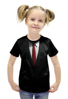"""Футболка с полной запечаткой для девочек """"Костюм"""" - черный, красный, галстук, рубашка, костюм"""