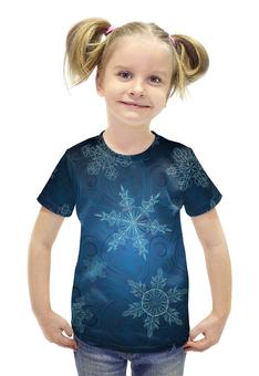 """Футболка с полной запечаткой для девочек """"Снежинка"""" - красивая, нежная, приятная"""