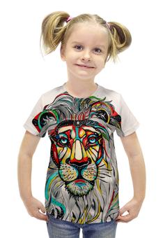 """Футболка с полной запечаткой для девочек """"Царь зверей"""" - лев, рисунок, царь зверей"""