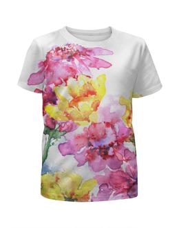 """Футболка с полной запечаткой для девочек """"Хризантемы"""" - цветы, 8 марта, картина, природа, акварелью"""