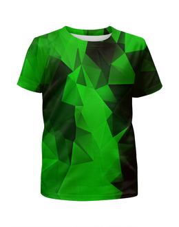 """Футболка с полной запечаткой для девочек """"Зеленые стекла"""" - абстракция, цветные, изумрудный, стекла"""
