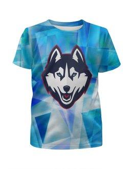 """Футболка с полной запечаткой для девочек """"Хаски"""" - dog, собака, хаски, husky"""