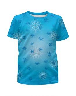 """Футболка с полной запечаткой для девочек """"Снежинка"""" - праздник, новый год, зима, снег, снежинка"""