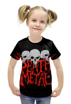 """Футболка с полной запечаткой для девочек """"Death Metal"""" - skull, черепа, кровь, blood, death metal"""