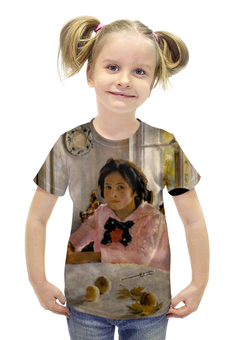 """Футболка с полной запечаткой для девочек """"Девочка с персиками """" - картина, искусство, живопись, серов"""