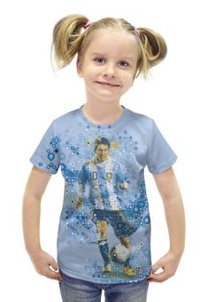 """Футболка с полной запечаткой для девочек """"Месси"""" - футбол, арт, месси, аргентина"""