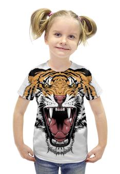 """Футболка с полной запечаткой для девочек """"Тигр """" - tiger, тигр, оскал"""