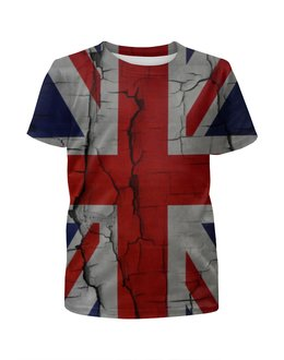 """Футболка с полной запечаткой для девочек """"Британский Флаг"""" - англия, флаг, uk, great britain"""