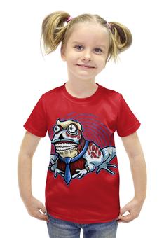 """Футболка с полной запечаткой для девочек """"Гипнотическая лягушка"""" - лягушка, гипноз"""