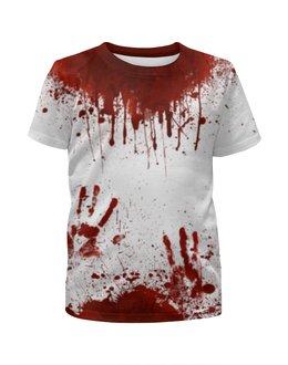 """Футболка с полной запечаткой для девочек """"Кровь"""" - хэллоуин, зомби, кровь, маньяк, в крови"""