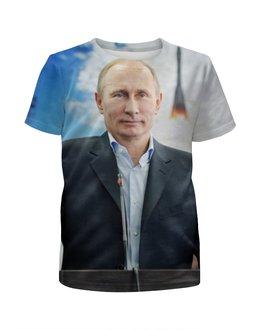 """Футболка с полной запечаткой для девочек """"Путин (Putin)"""" - россия, russia, путин, putin"""