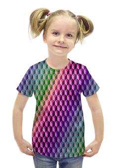 """Футболка с полной запечаткой для девочек """"Градиент"""" - графика, краски, геометрия, градиент, шестиугольник"""