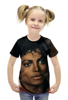 """Футболка с полной запечаткой для девочек """"Майкл Джексон"""" - майкл джексон, michael jackson, попкультура"""